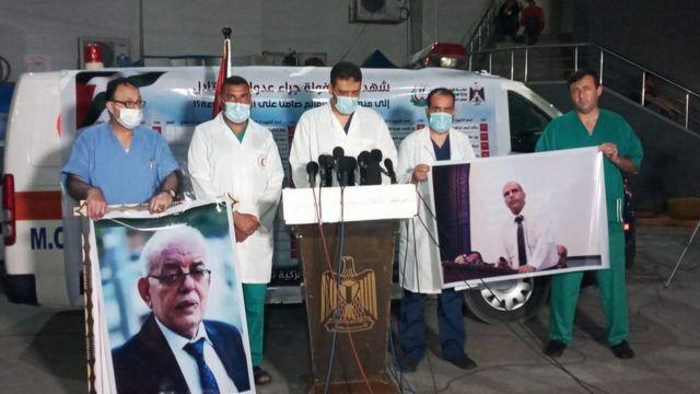 Gazze'deki doktorlar, Dr. Ayman'ın ve diğer hekimlerin ölümünü protesto etti
