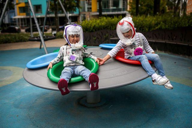 Children in helmets