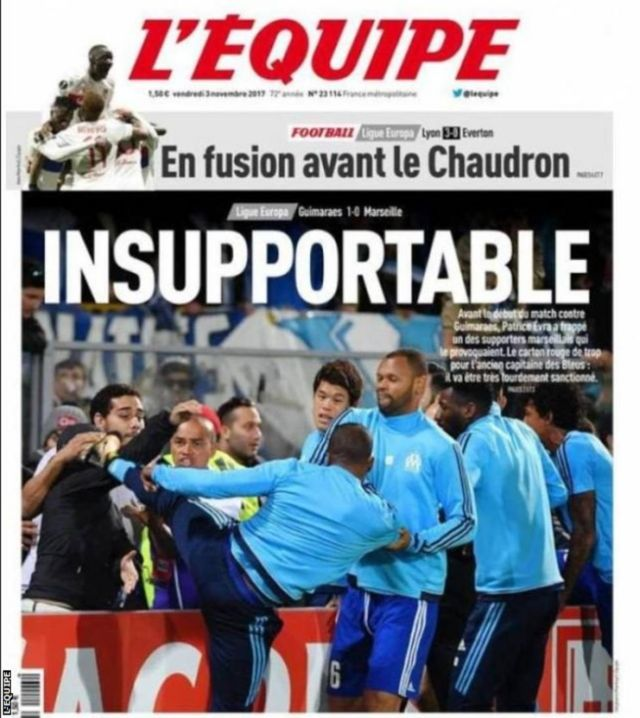 Picture of Patrice Evra kick for French newspaper L'Equipe
