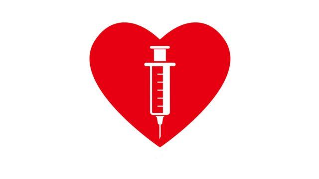 Un corazón con una vacuna adentro