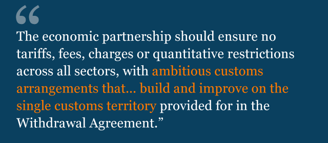 Text from political declaration saying: The economic partnership should ensure no tariffs, fees, charges or quantitative restrictions across all sectors, with ambitious customs arrangements that... build and improve on the single customs territory provided for in the Withdrawal Agreement