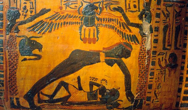 Detail of Butehamon's painted sarcophagus.  In the act of creation, the air god Shu holds up the sky goddess Nut, separating her from Geb.  Ancient Egypt.  21st Dynasty c 1069 945 BC