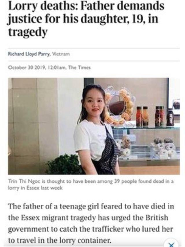 Gia đình Trần Thị Ngọc, 19 tuổi, tin rằng con gái mình tử nạn trong chiếc xe thùng