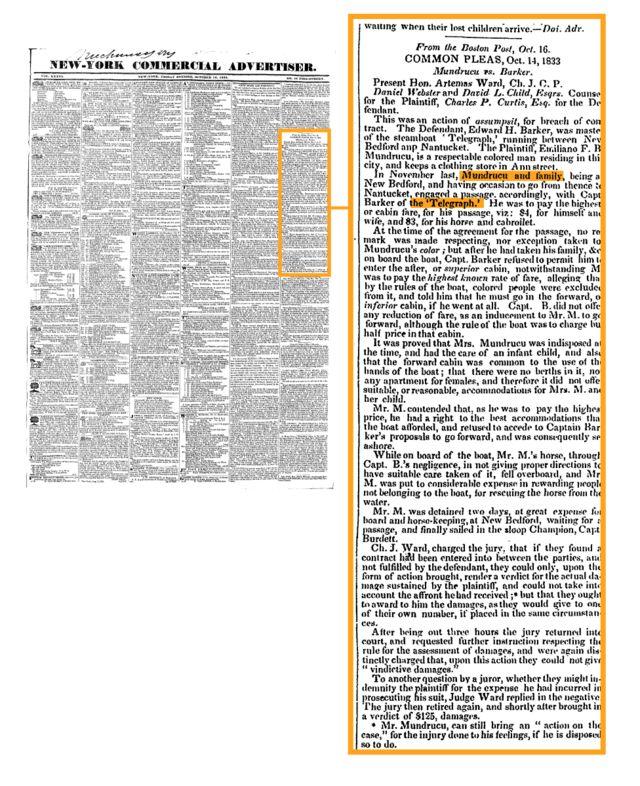 Reportagem de 1833 de jornal de Nova York anuncia a vitória de Mundrucu na primeira instância judicial