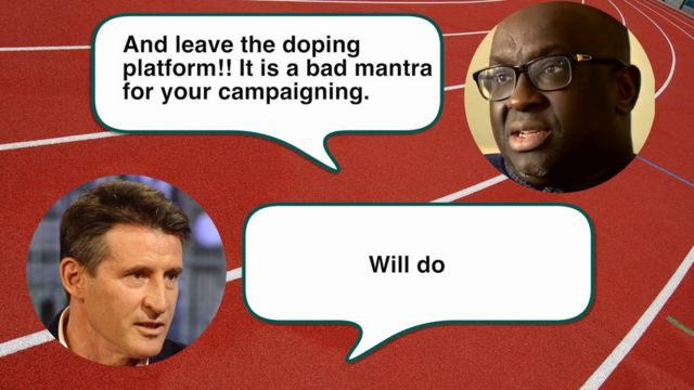 Text message exchange between Lord Coe and Papa Diack