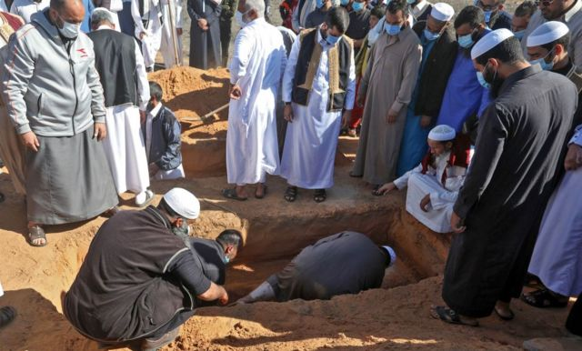 One of the exhumed bodies is buried on 13 November 2020