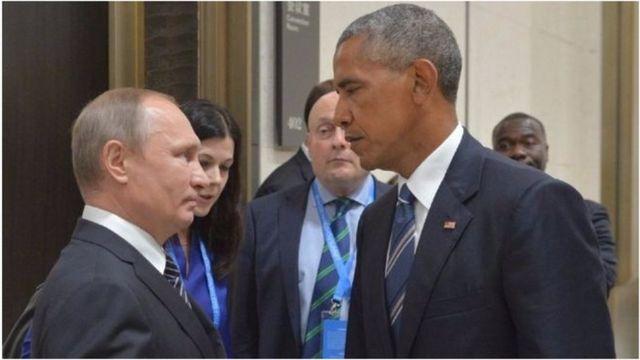 Prezida w'Uburusiya Vladimir Putin na mugenzi we wa Amerika Barack Obama