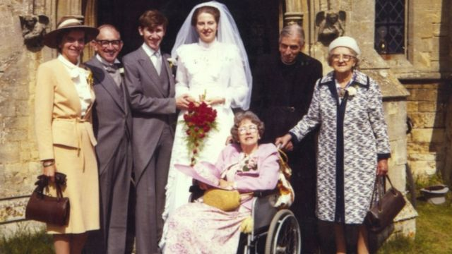 May family handout of Theresa May at her wedding to Philip in 1980. From left - Philip's parents, John and Joy May, Philip and Theresa, Theresa's father Hubert, maternal grandmother Violet Barnes, and mother Zaidee in the wheelchair