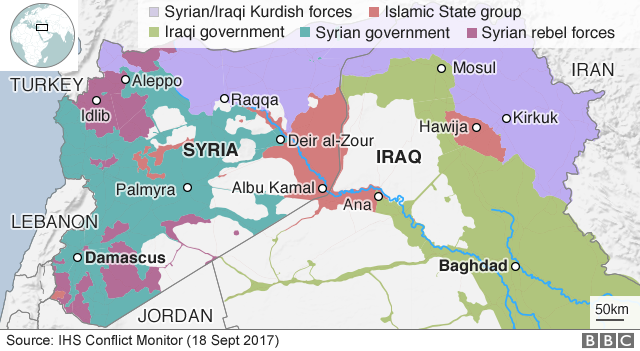 Map showing control of Syria and Iraq (18 September 2017)