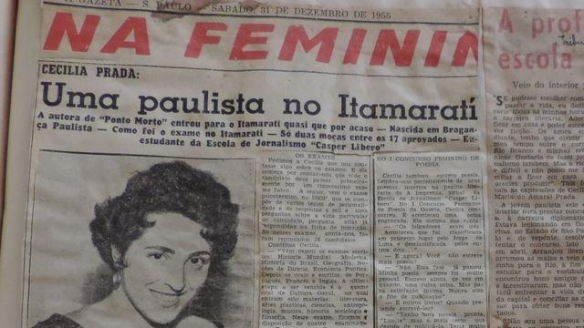 Reportagem do jornal 'A Gazeta' fala sobre a entrada de Cecília Prada no Itamaraty