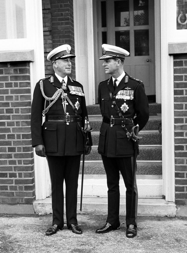 Prince Philip with his uncle, Admiral of the Fleet, Earl Mountbatten of Burma at the Royal Marines Barracks in Eastney near Portsmouth in 1965