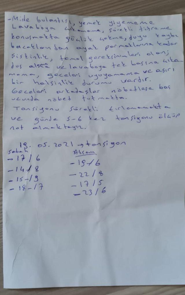 Mehmet Emin Özkan'la aynı hücrede kalan bir hükümlünün, Özkan'ın durumunu doktora aktarmak için onun cebine koyduğu not