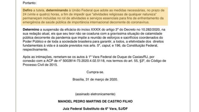 Reprodução de trecho de documento com decisão do juiz Manoel Pedro Martins de Castro Filho