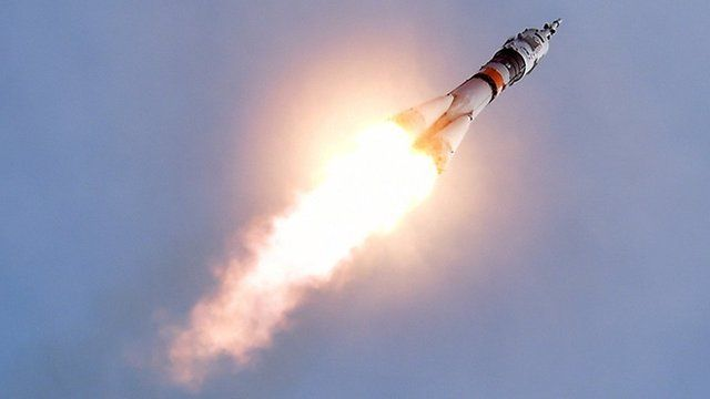 Russia's Soyuz TMA-18M spacecraft carrying the International Space Station (ISS) crew of Kazakhstan's cosmonaut Aydyn Aimbetov, Russian cosmonaut Sergei Volkov and Denmark's astronaut Andreas Mogensen from the European Space Agency blasts off from the launch pad at Russian-leased Baikonur cosmodrome on September 2, 2015.