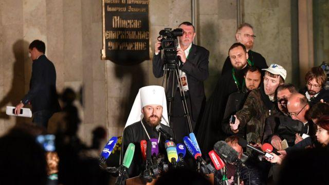 Митрополит Иларион объявляет о решении синода РПЦ прервать общение с Вселенским патриархатом
