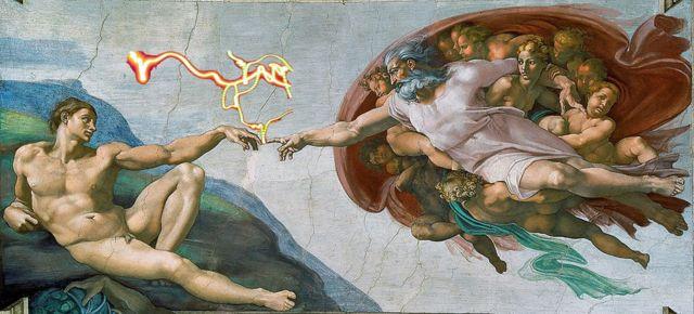 Dios y Adán, detalle del fresco de la Capilla Sixtina de Miguel Ángel