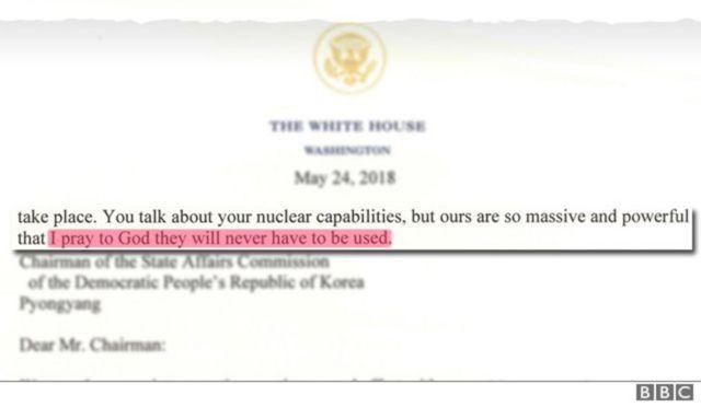트럼프는 미국의 핵무기는 북한보다 더 강력해서 절대 사용할 필요가 없기를 신께 기도한다고 말했다