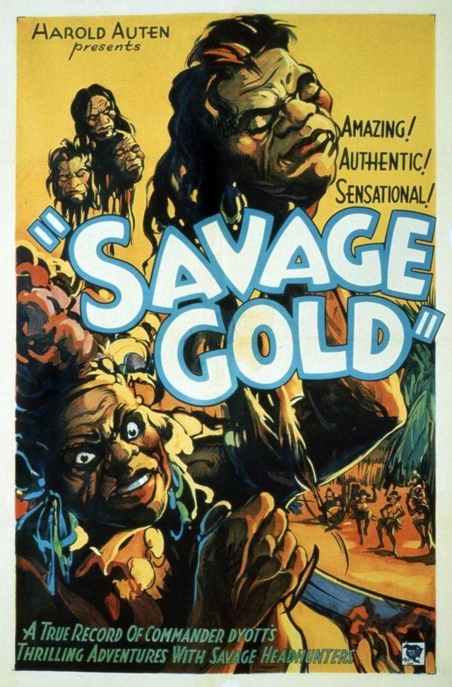 """Poster do filme de 1933 """"Ouro Selvagem"""" sobre uma expedição para a Amazônia, morta povo nativo como selvagem"""