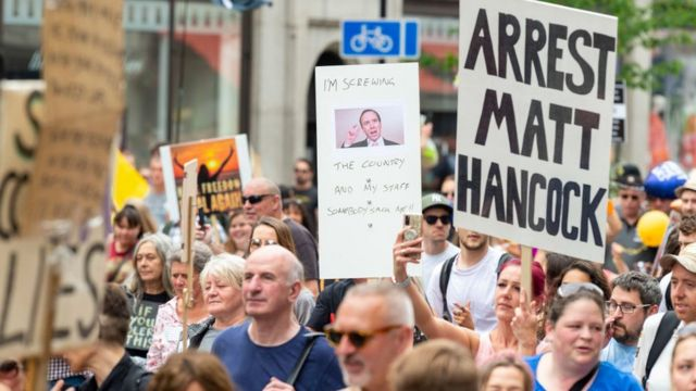 A march in London against lockdown and against Health Minister Matt Hancock, June 26, 2021