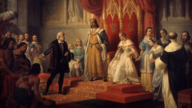 Pintura de Cristóbal Colón y los reyes católicos. Museo Nacional de Arte de México.