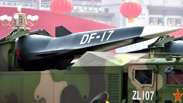 The hypersonic glide vehicle (HGV) DF-17 is seen during a military parade to celebrate the 70th Anniversary of the founding of the People's Republic of China, October 1, 2019 in Beijing.
