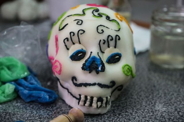 A typical skull made for Day of the Dead in Mexico, made out of a hollow mould of refined sugar