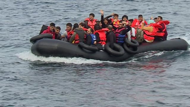 A boat arriving in Lesbos