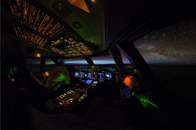 The cockpit at night