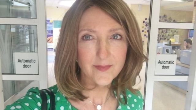 Victoria Derbyshire leaving hospital