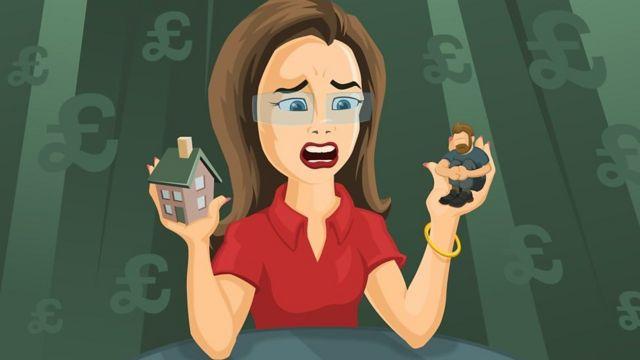 Ilustração de mulher com expressão em pânico, segurando uma casa na mão direita e o namorado na mão esquerda