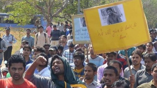 rohith vemula supporters in protest
