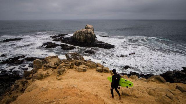 Playa Punta de lobos, Pichilemu, a 200 kilómetros al sur de Santiago de Chile.