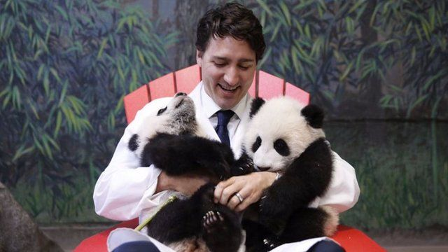 Justin Trudeau with the newly named pandas