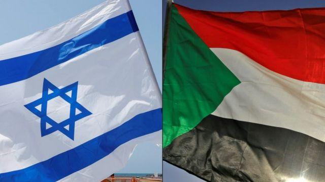 علم السودان (يمين) وعلم إسرائيل