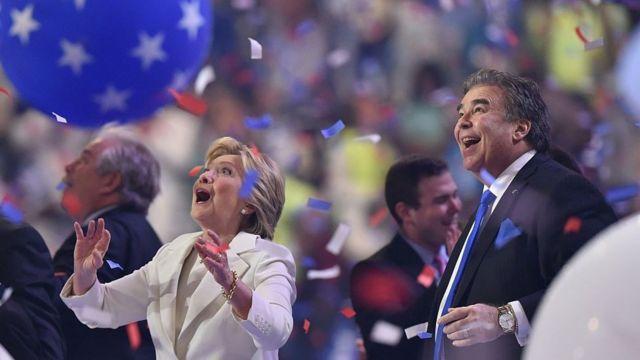 Balloons descend as Democratic presidential nominee Hillary Clinton celebrates