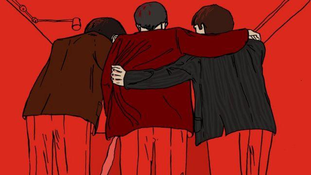 Illustration of three men huddled together