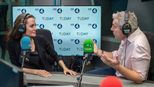 Anđelina Džoli u BBC studiju u Londonu, decembar 2018.