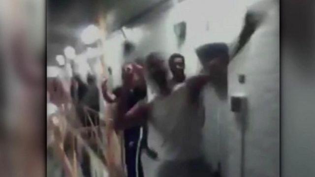 Still from footage inside Bedford Prison