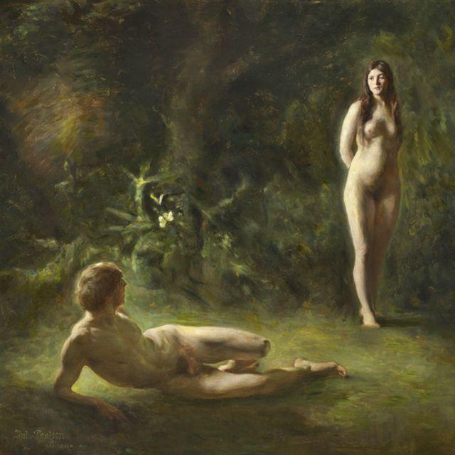 Reprodução da tela Adão e Eva, de Julius Pausen