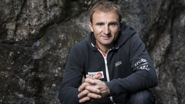 Swiss mountaineer Ueli Steck photographed at the foot of a climbing wall in Wilderswil, Canton of Berne, Switzerland, on 11 September 2015