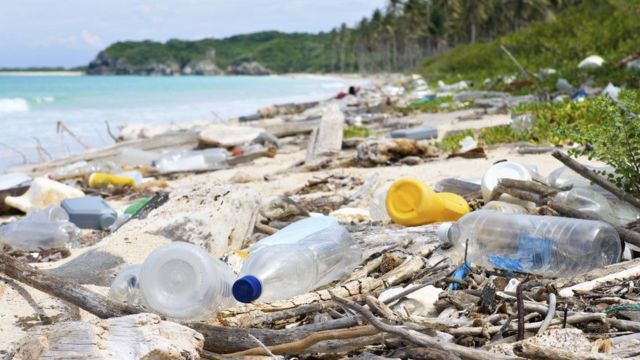 Bottles and other plastic waste on a beach