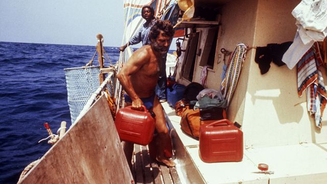 Santiago Genoves and Fe Seymour on board the Acali