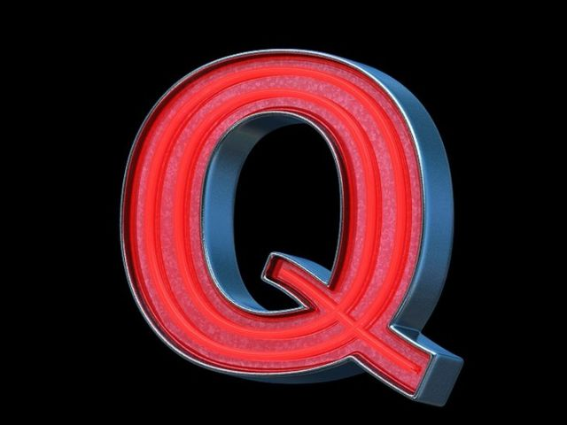 A big letter Q, in red nean light