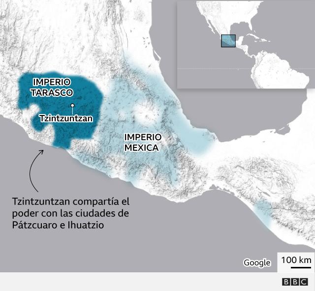 Mapa que sitúa el imperio tarasco y el mexico sobre el mapa actual de México