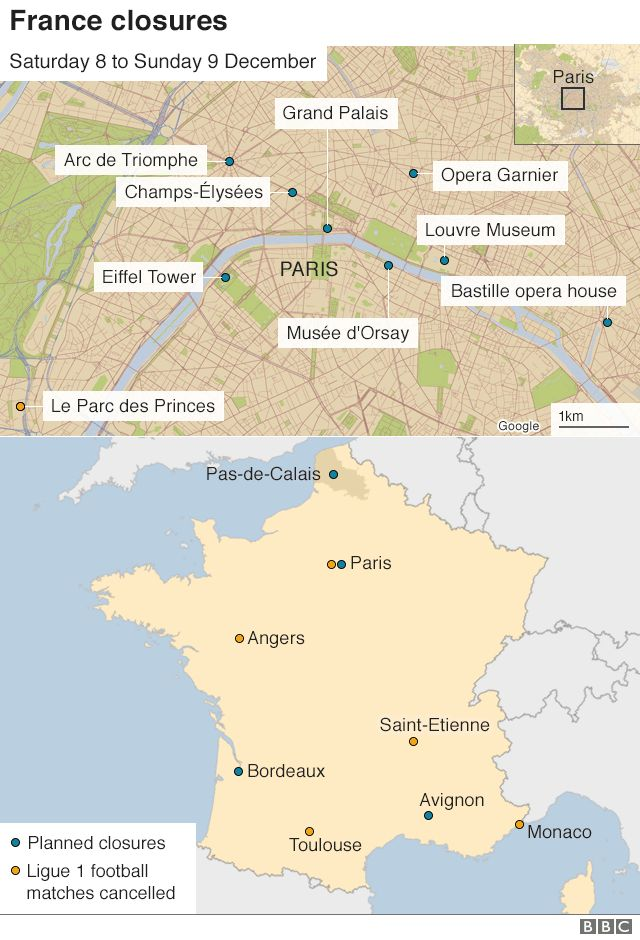 Map of Paris and France, highlighting closures and protest sites on 8 and 9 December
