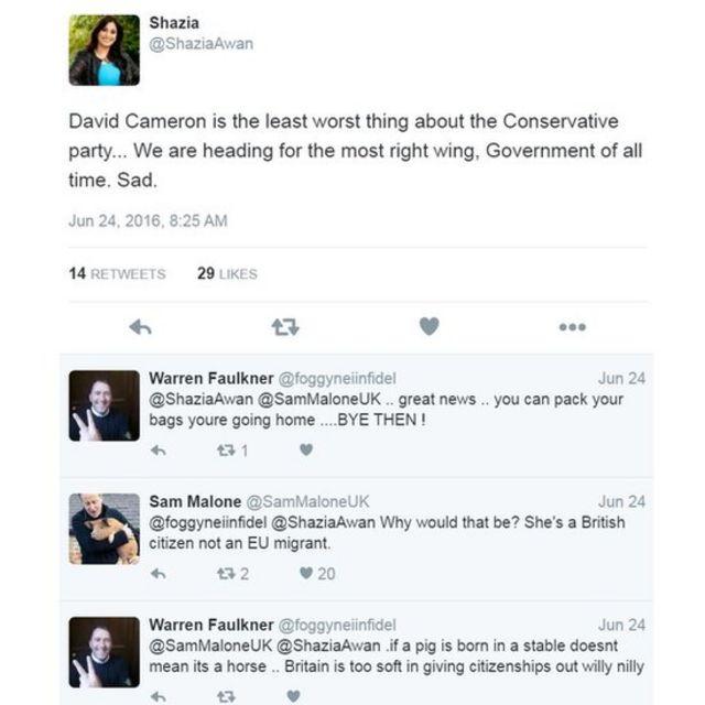 """""""David Cameron es la cosa menos mala del partido conservador... Estamos siendo conducidos por el gobierno más de derecha de todos los tiempos. Triste"""". """"Warren Faulkner le respondió: """"perfecto, excelentes noticias... puedes hacer las maletas e irte a tu país. CHAO""""."""