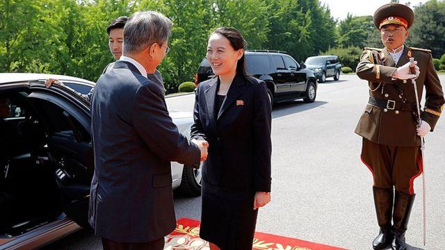 金正恩的妹妹金與正和韓國總統文在寅