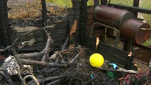 Aftermath of shed fire