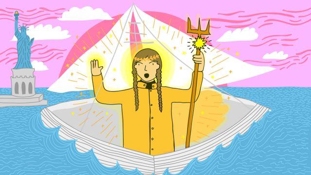 Ilustración de Greta Thunberg llegando a Nueva York en barco, como una diosa griega