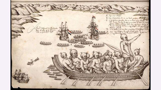 Ilustração das embarcações de Abel Tasman deixando a Nova Zelândia